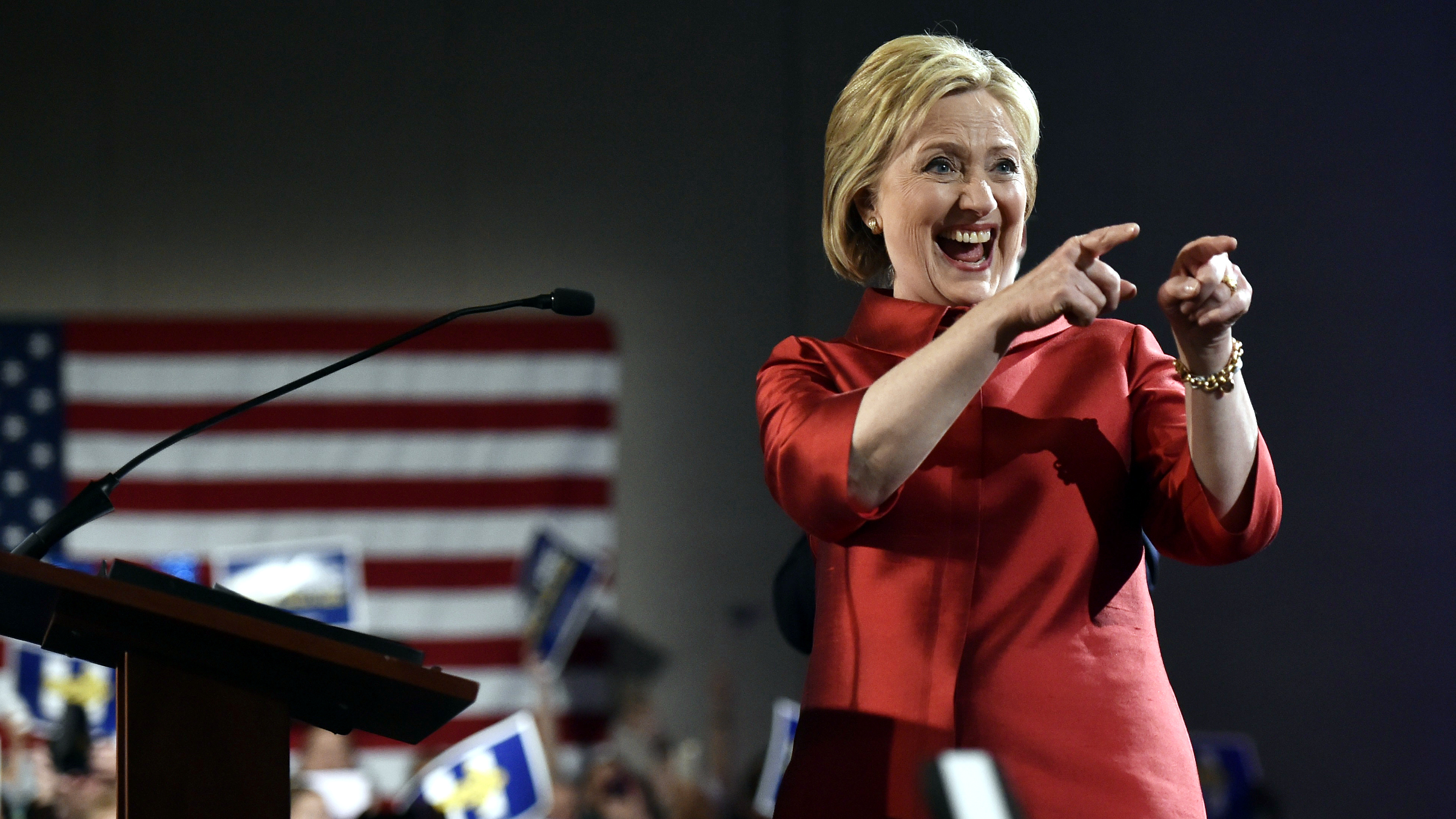 Democratic U.S. presidential candidate Hillary Clinton gestures to supporters after she was projected to be the winner in the Democratic caucuses in Las Vegas, Nevada February 20, 2016.