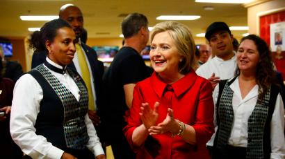 Democratic presidential candidate Hillary Clinton visits with Harrah's Las Vegas employees on the day of the Nevada Democratic caucus, Saturday, Feb. 20, 2016, in Las Vegas.