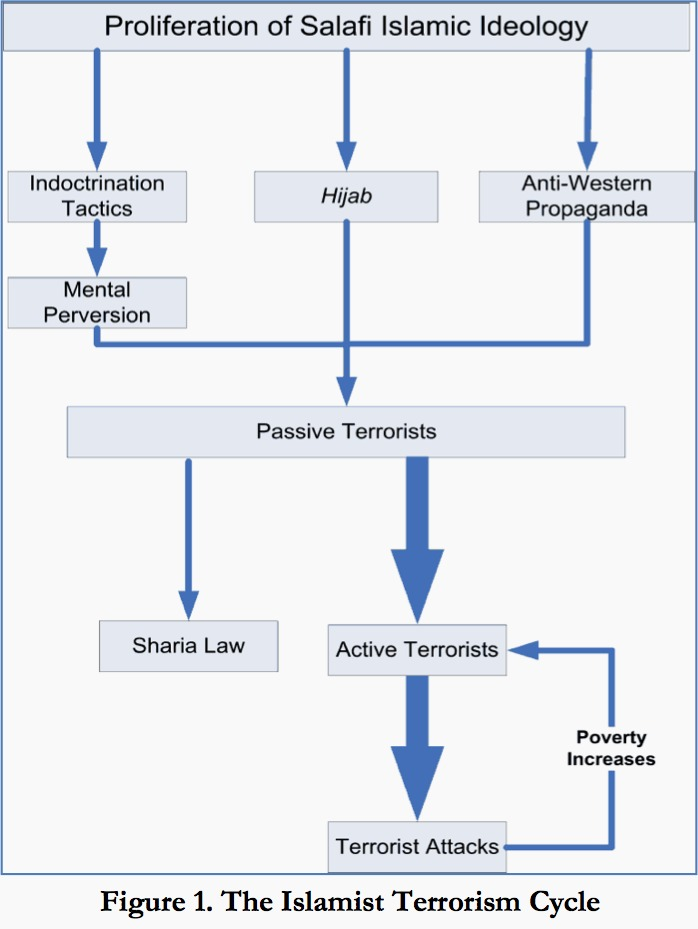A chart outlining Dr. Hamid's controversial notions on the hijab, passive terrorism, and their role in active terrorism.