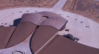 An aerial view of Spaceport America