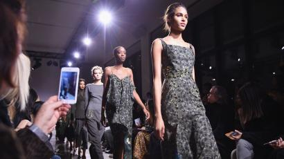 Models walk the runway during the Zac Posen Fall 2016 fashion show during New York Fashion Week at Spring Studios on February 15, 2016 in New York City.