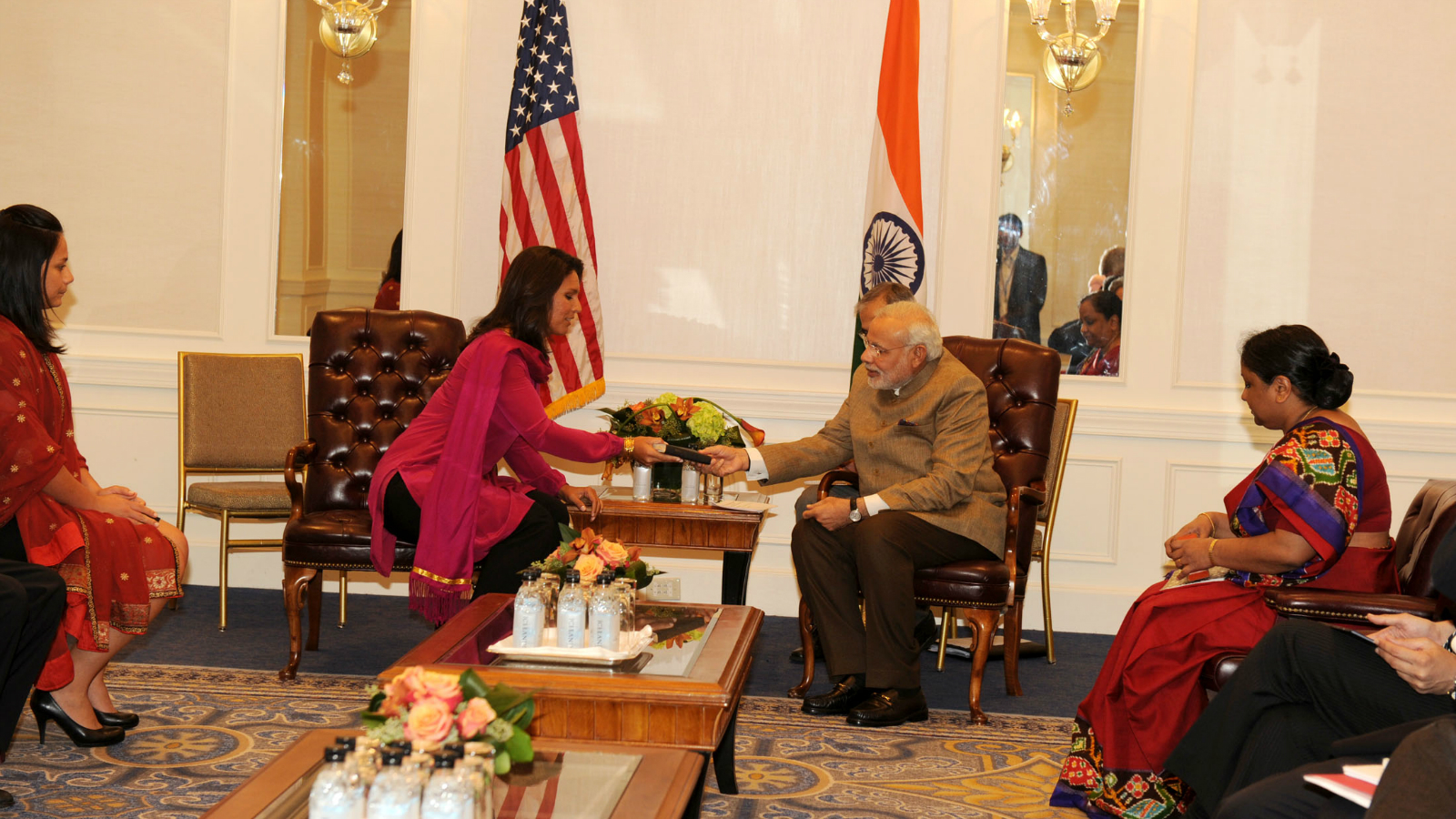 The Member of House of Representatives of the United States, Ms. Tulsi Gabbard calls on the Prime Minister, Shri Narendra Modi, in New York on September 28, 2014. http://pib.nic.in/newsite/Printphoto.aspx?relid=57335