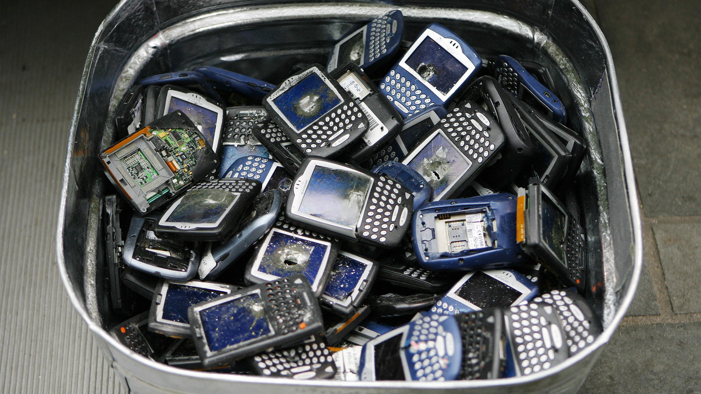 phones in trash