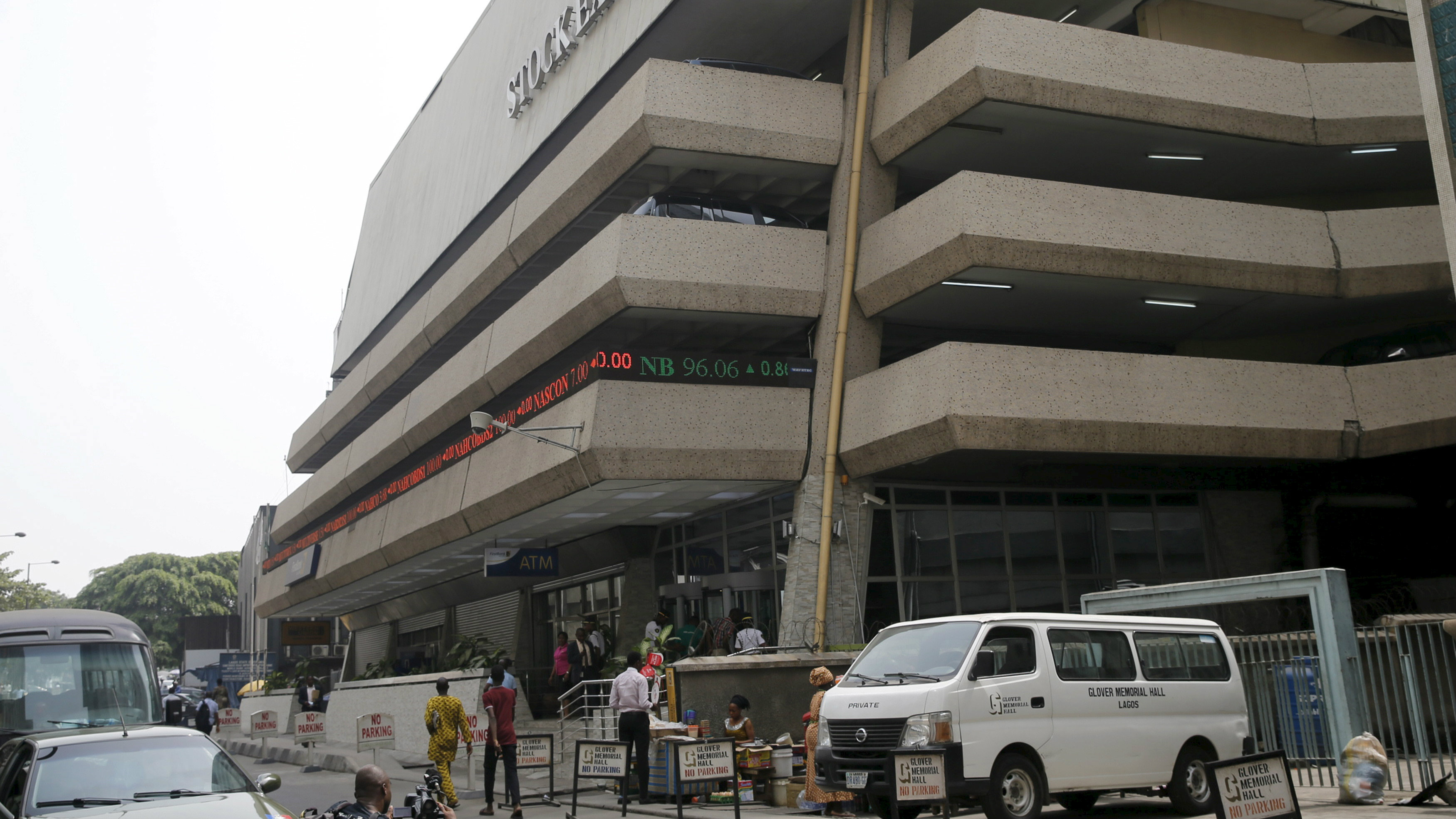An exterior view shows the Nigerian Stock Exchange building in Lagos, Nigeria February 10, 2016.
