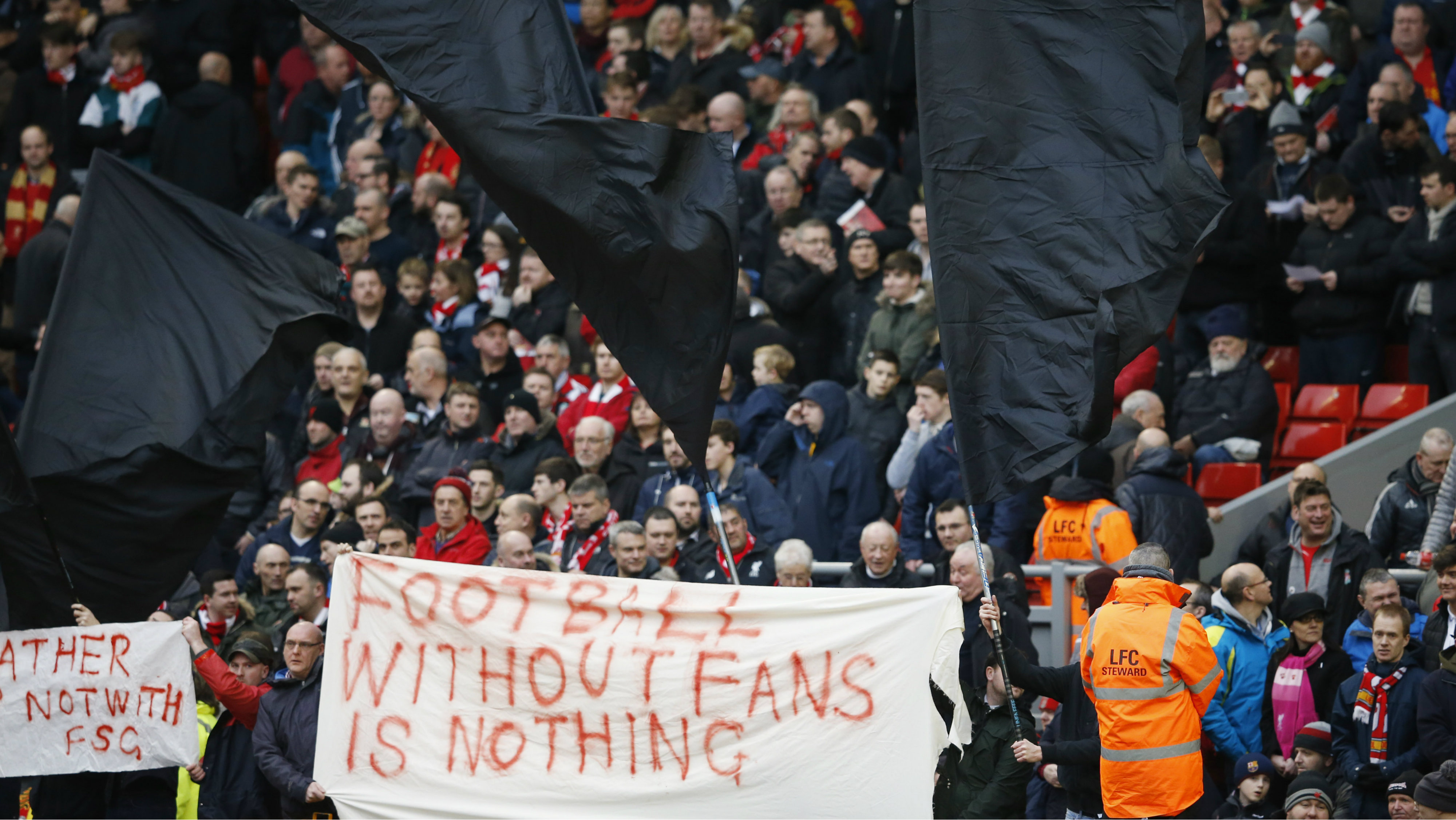 Liverpool v Sunderland - Barclays Premier League - Anfield - 6/2/16 Liverpool fans hold up signs in protest against ticket prices