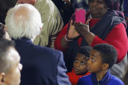 Democratic U.S. presidential candidate and U.S. Senator Bernie Sanders greets audience members at the Annual Oyster Roast and Fish Fry in Orangeburg, South Carolina February 26, 2016. REUTERS/Brian Snyder - RTS87LP