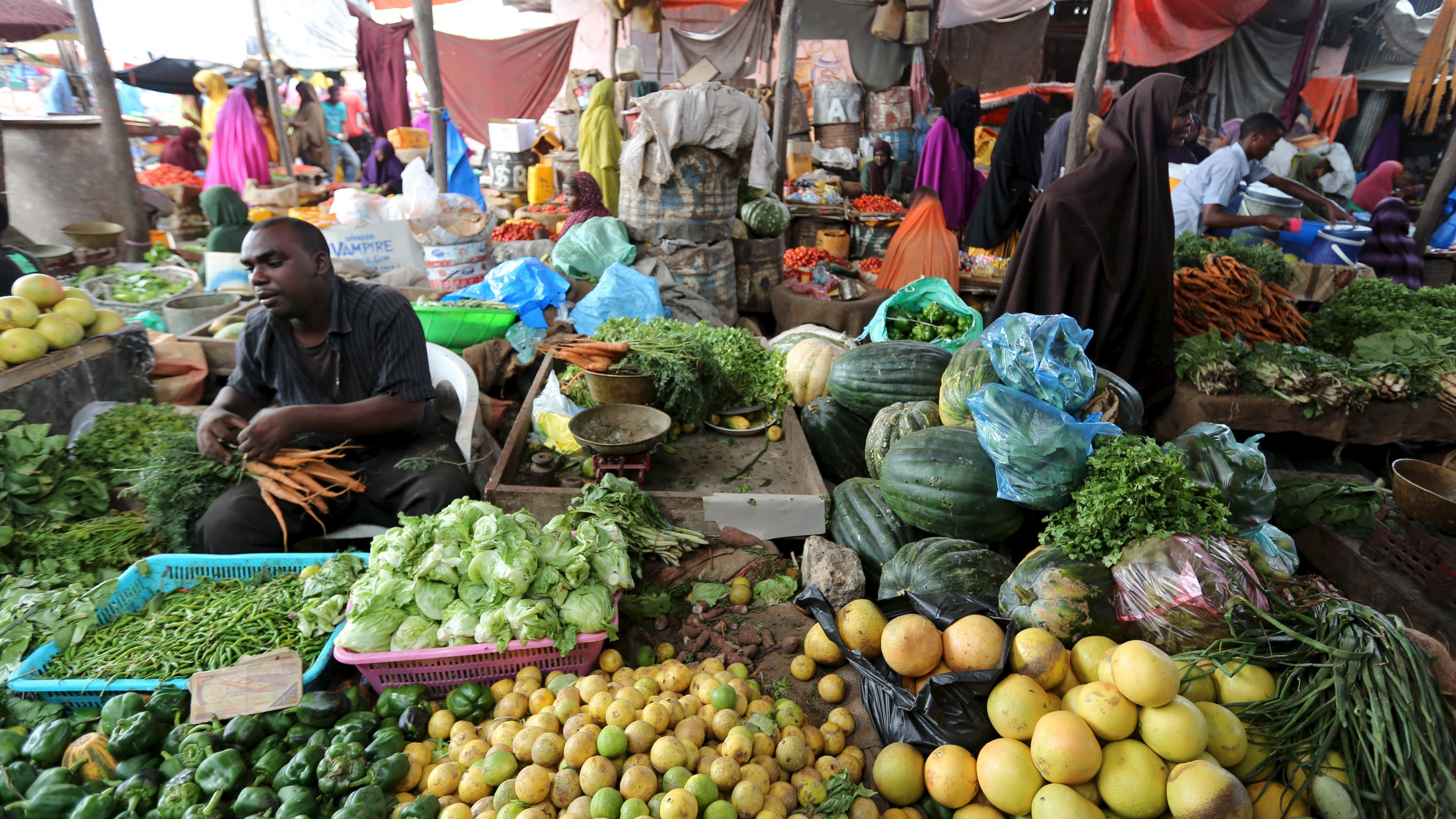 Somali traders sell vegetables at a market as Muslims prepare for the fasting month of Ramadan, the holiest month in the Islamic calendar in Somalia's capital Mogadishu, June 17, 2015. REUTERS/Feisal Omar  - RTX1GXKQ
