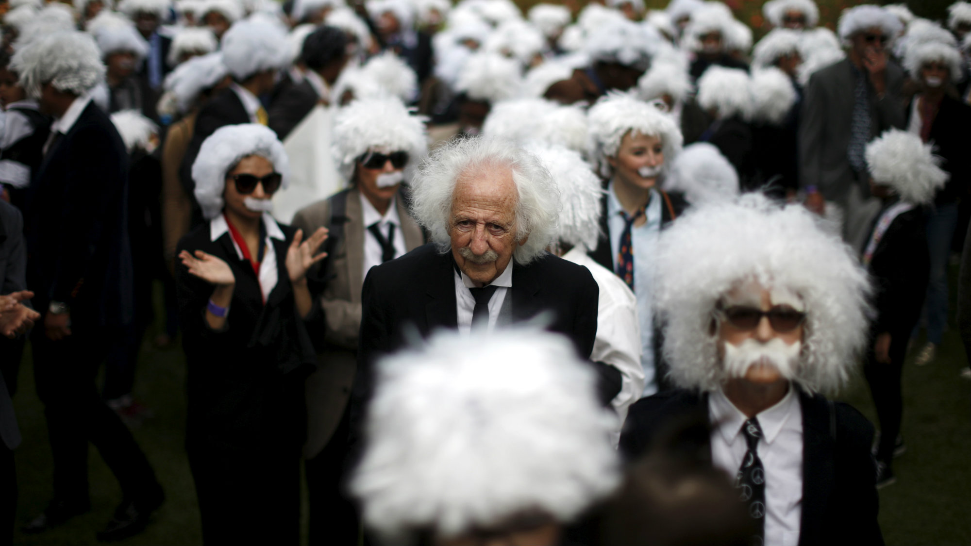 Benny Wasserman, stands with others dressed as Albert Einstein as they gather to establish Guinness world..