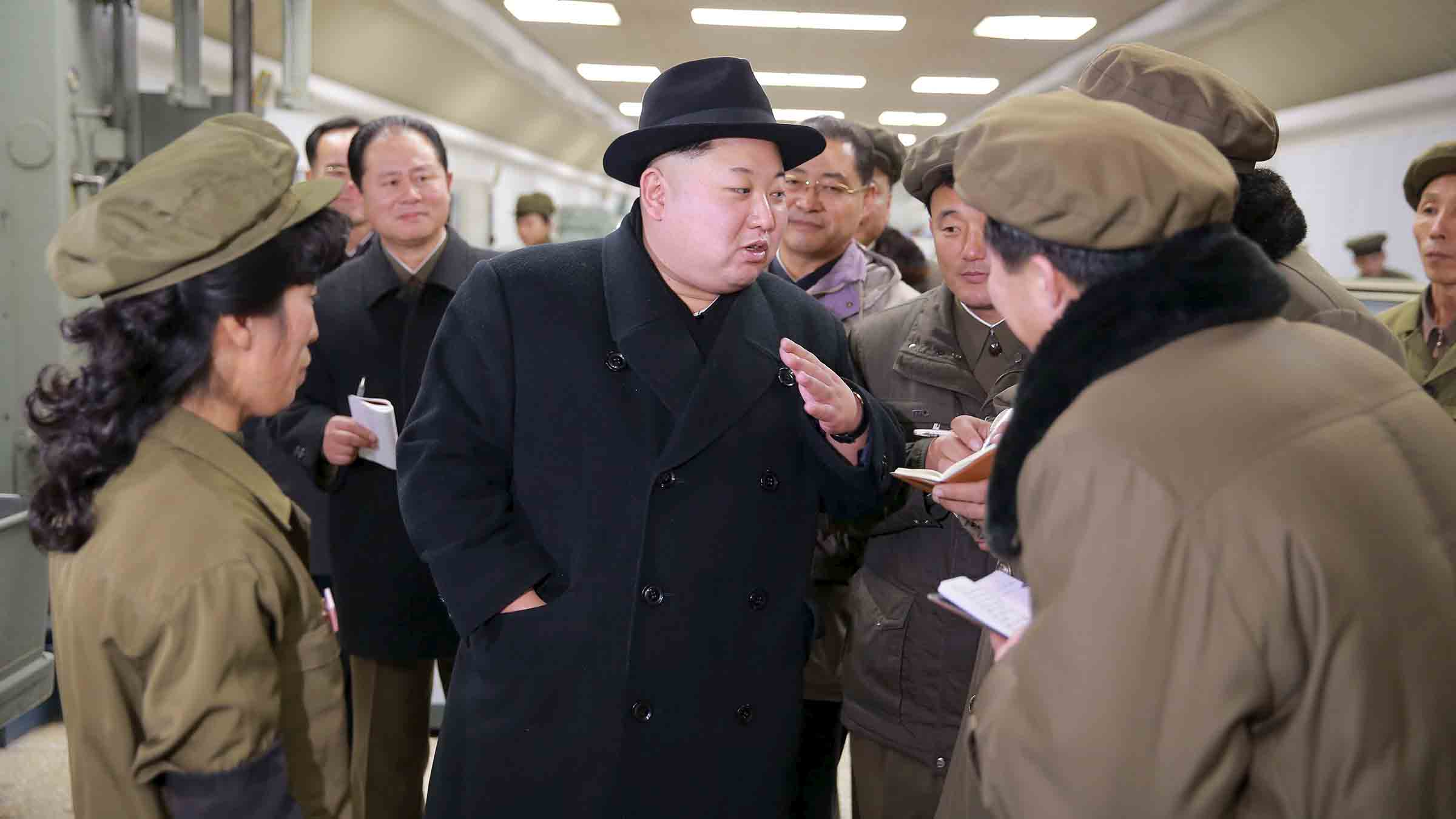 North Korean leader Kim Jong Un visits the January 18 General Machinery Plant in this undated photo released by North Korea's Korean Central News Agency (KCNA) in Pyongyang