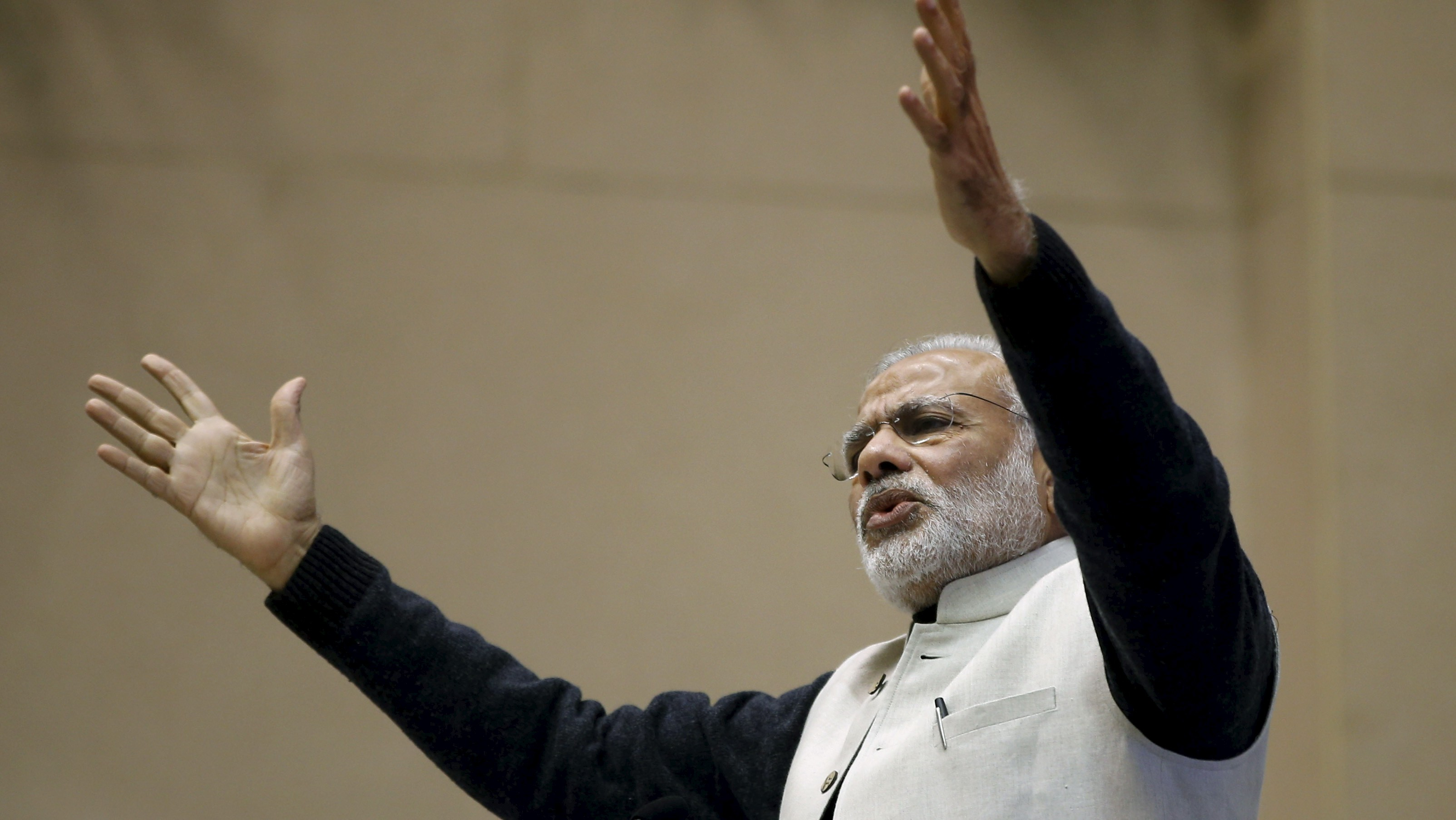 India's Prime Minister Narendra Modi gestures as he addresses a gathering during a conference of start-up businesses in New Delhi