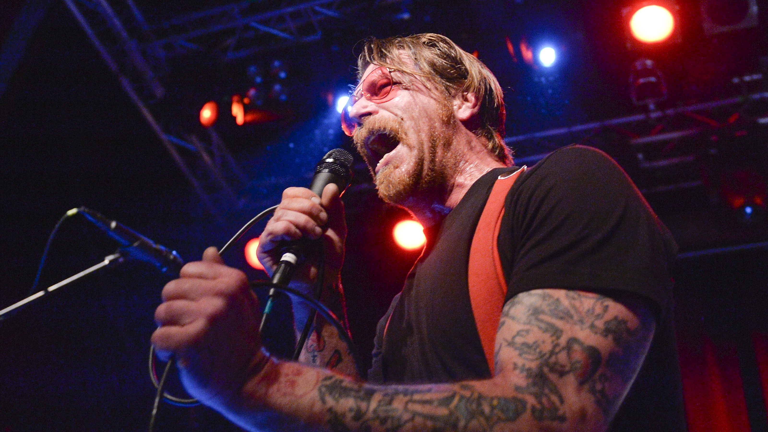 Singer of Eagles of Death Metal, Jesse Hughes, is pictured at the concert at Debaser Medis in Stockholm, Sweden, February 13, 2016. The concert in Stockholm is the bandís first after the Bataclan terror attack in Paris in November.  REUTERS/Vilhelm Stokstad/TT News Agency     ATTENTION EDITORS - THIS IMAGE WAS PROVIDED BY A THIRD PARTY. FOR EDITORIAL USE ONLY. NOT FOR SALE FOR MARKETING OR ADVERTISING CAMPAIGNS. THIS PICTURE IS DISTRIBUTED EXACTLY AS RECEIVED BY REUTERS, AS A SERVICE TO CLIENTS. SWEDEN OUT. NO COMMERCIAL OR EDITORIAL SALES IN SWEDEN. NO COMMERCIAL SALES. - RTX26T8Z