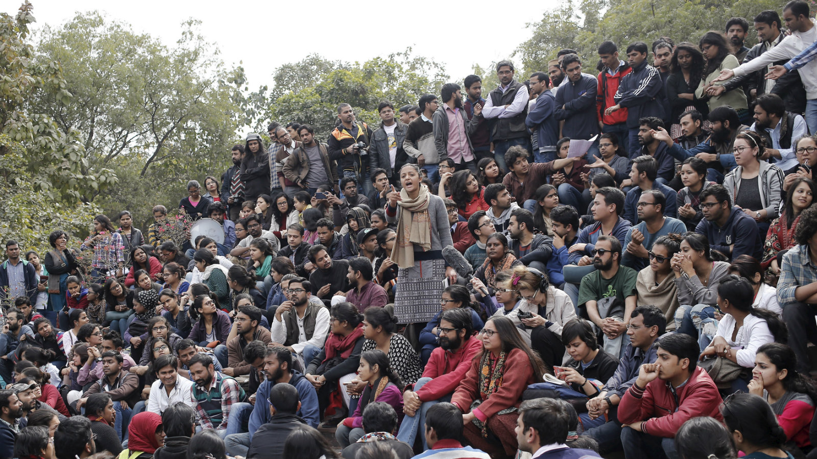 Students of Jawaharlal Nehru University (JNU) attend a protest inside the university campus in New Delhi, India, February 15, 2016. India's biggest nationwide student protests in a quarter of a century spread across campuses on Monday after the arrest of a student accused of sedition, in the latest battle with Prime Minister Narendra Modi's government over freedom of expression. Outrage over the arrest of the left-wing student leader, who had organized a rally to mark the anniversary of the execution of a Kashmiri separatist, has led to demonstrations in at least 18 universities.