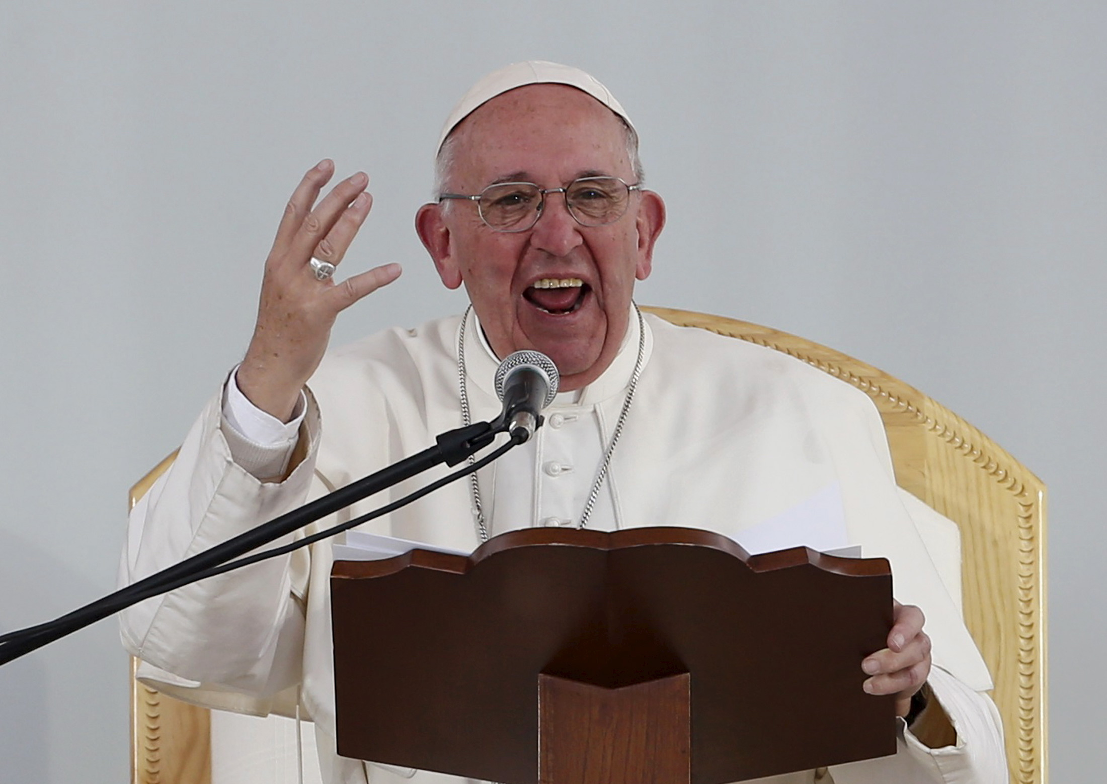 Pope Francis addresses the audience during a meeting with youths at the Jose Maria Morelos y Pavon stadium in Morelia