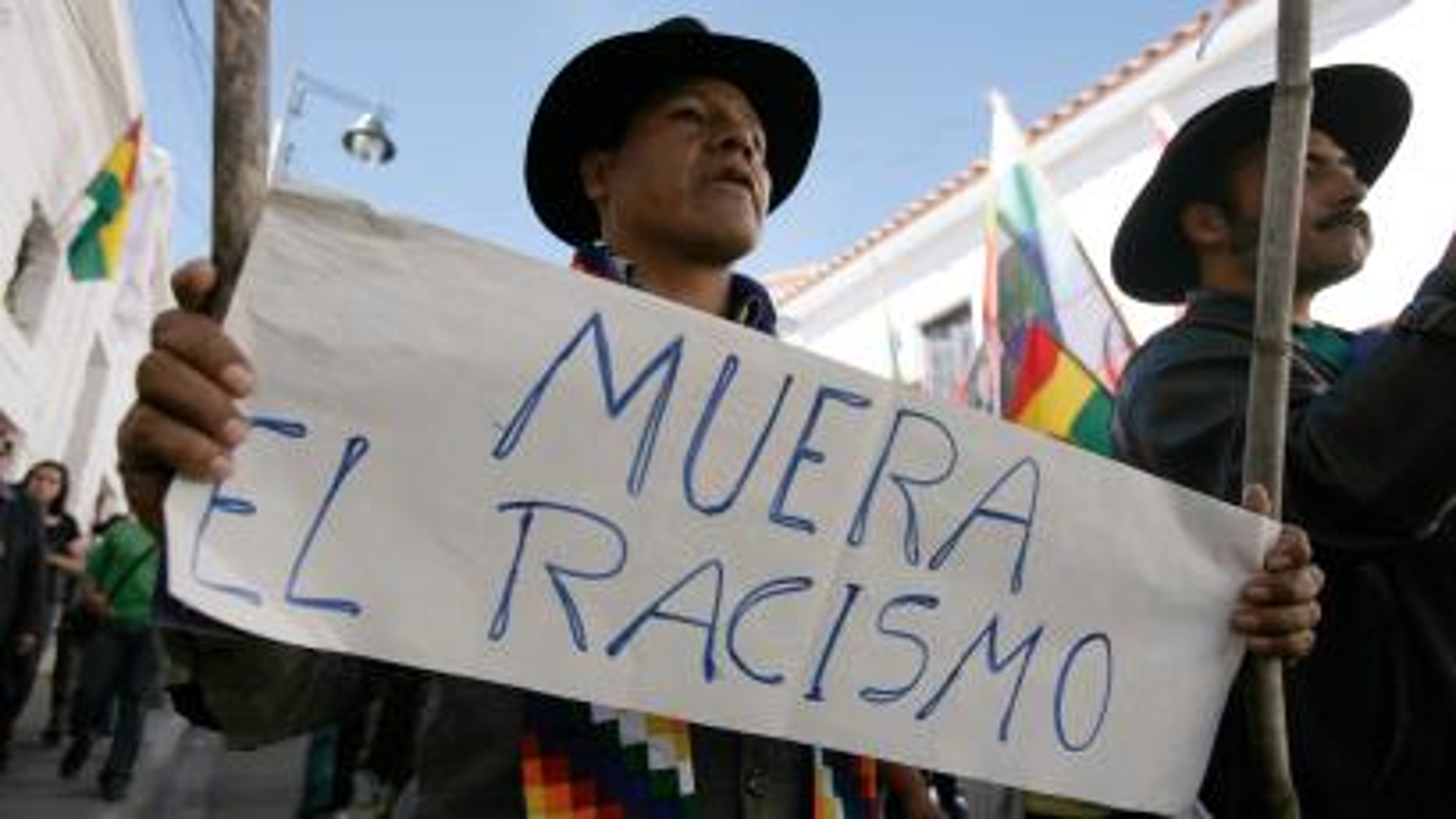 Indigenous Bolivians protest against racial discrimination.