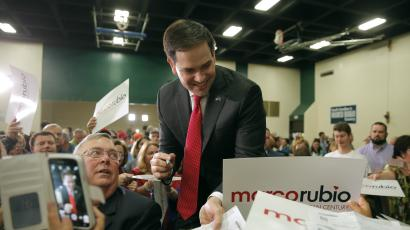 U.S. Republican presidential candidate Marco Rubio smiles as he greets supporters following a campaign town hall at the Odell Weeks Activity Center in Aiken, South Carolina February 17, 2016. REUTERS/Chris Keane