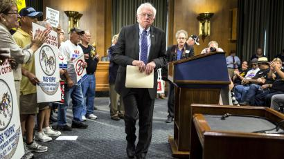 Democratic presidential candidate Sen. Bernie Sanders (I-VT) walks after speaking at a rally to preserve union pensions on Capitol Hill in Washington September 10, 2015.