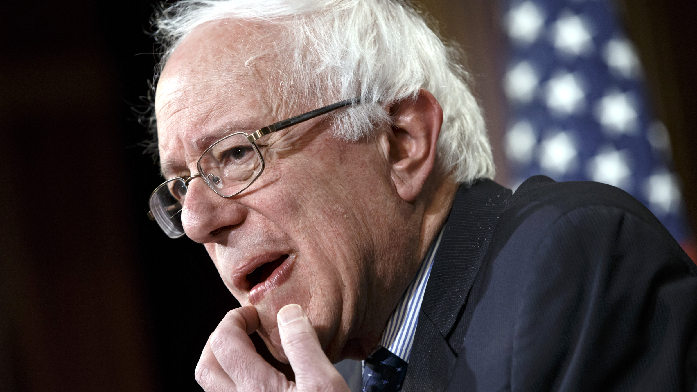 Sen. Bernie Sanders, I-Vt. gestures during a news conference on Capitol Hill in Washington, Friday, Jan. 16, 2015, to discuss Republican efforts to cut Social Security and Medicare and other programs that have an impact on working families. Sanders, an independent who caucuses with Democrats, became the ranking minority member on the Senate Budget Committee when the new GOP-controlled Congress began.
