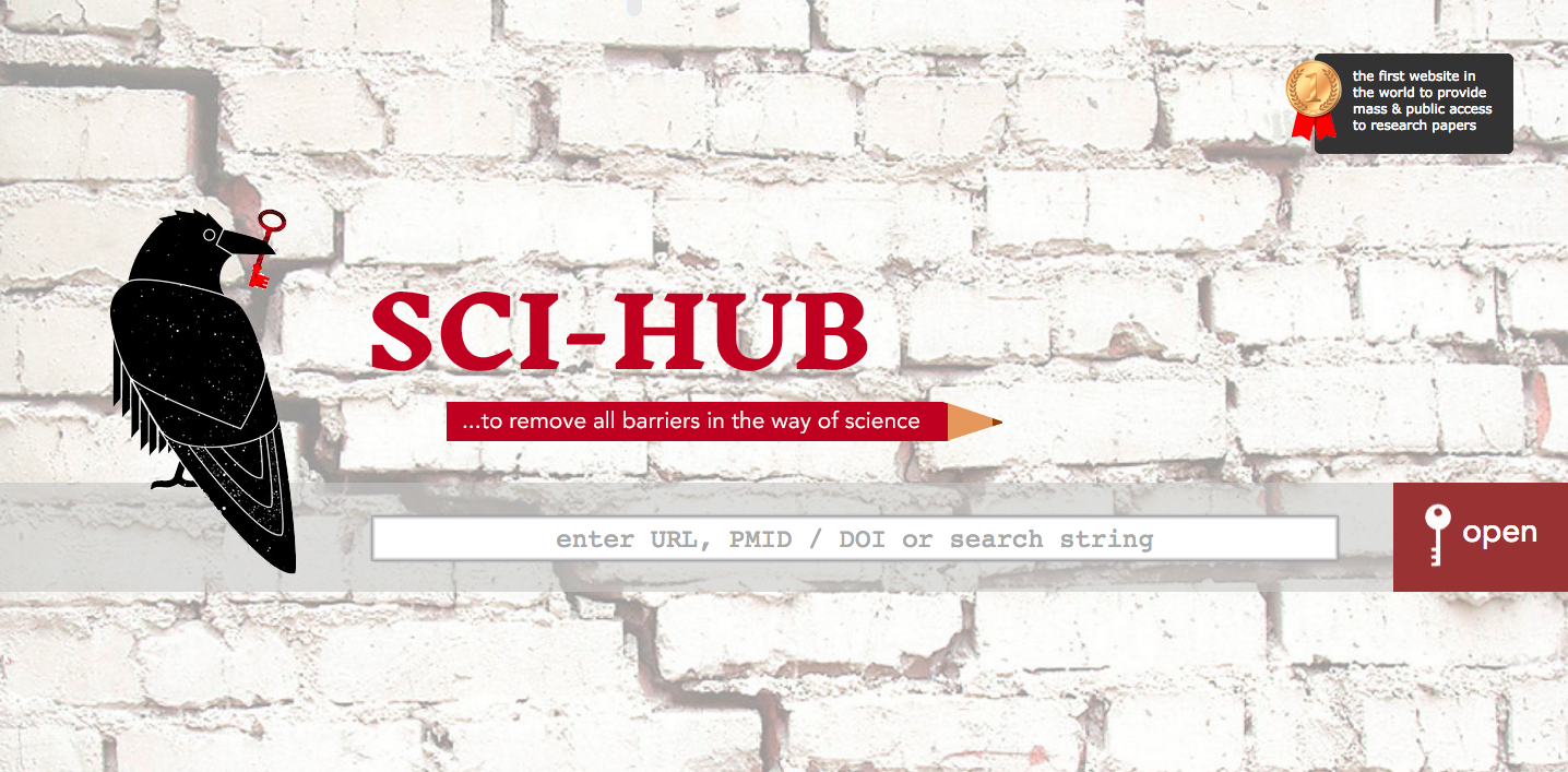 The homepage of Sci-Hub