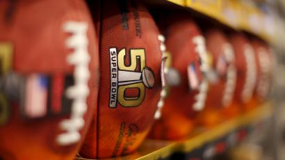 Replica Super Bowl 50 game balls are shown for sale at a retail venue in San Francisco, California, February 5, 2016. REUTERS/Mike BlakeCharlie Riedel)