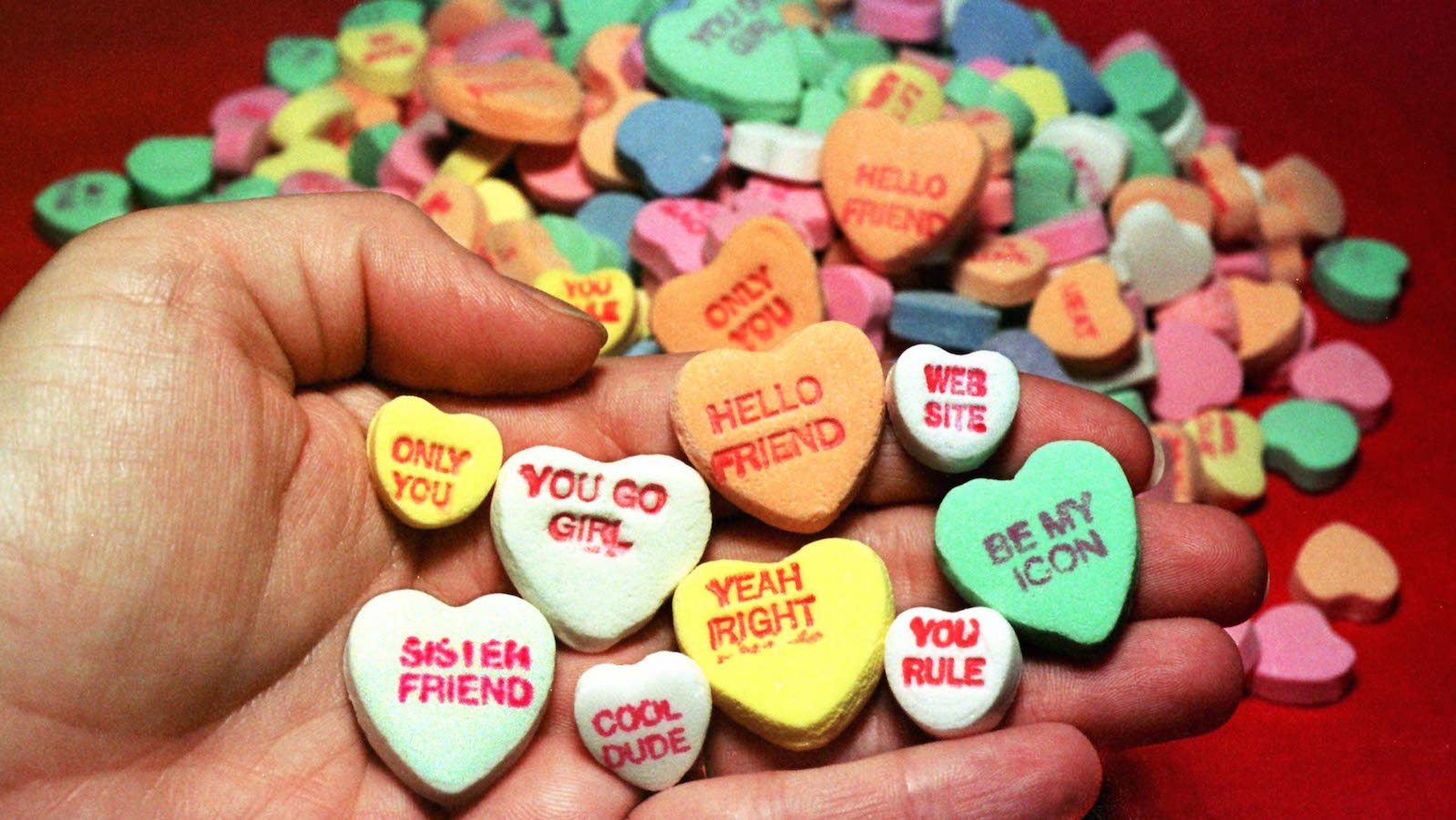 The traditional Valentine's Day candy hearts produced by the New England Confectionary Company (NECC..