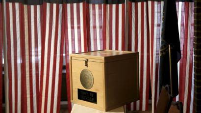 The ballot box sits on a table before voting begins for the U.S. presidential primary election inside Hale House at the Balsams Hotel in Dixville Notch, New Hampshire, February 8, 2016. Since 1960 residents of Dixville New Hampshire cast the first election day ballots of the U.S. presidential election moments after midnight.