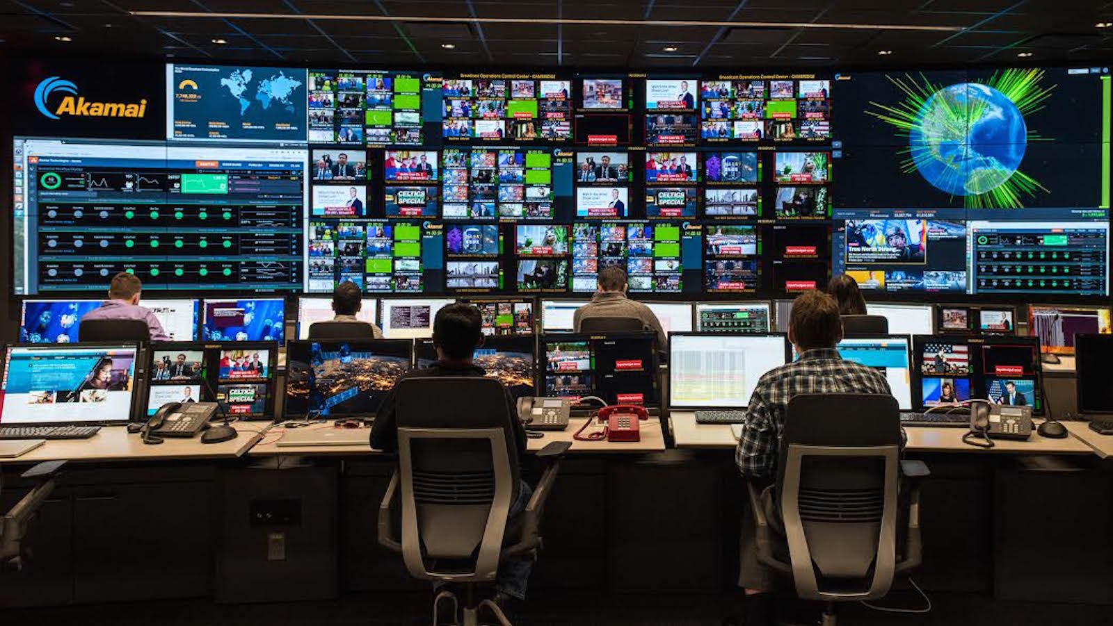 Akamai's Broadcast Operations Center in Cambridge, Massachusetts