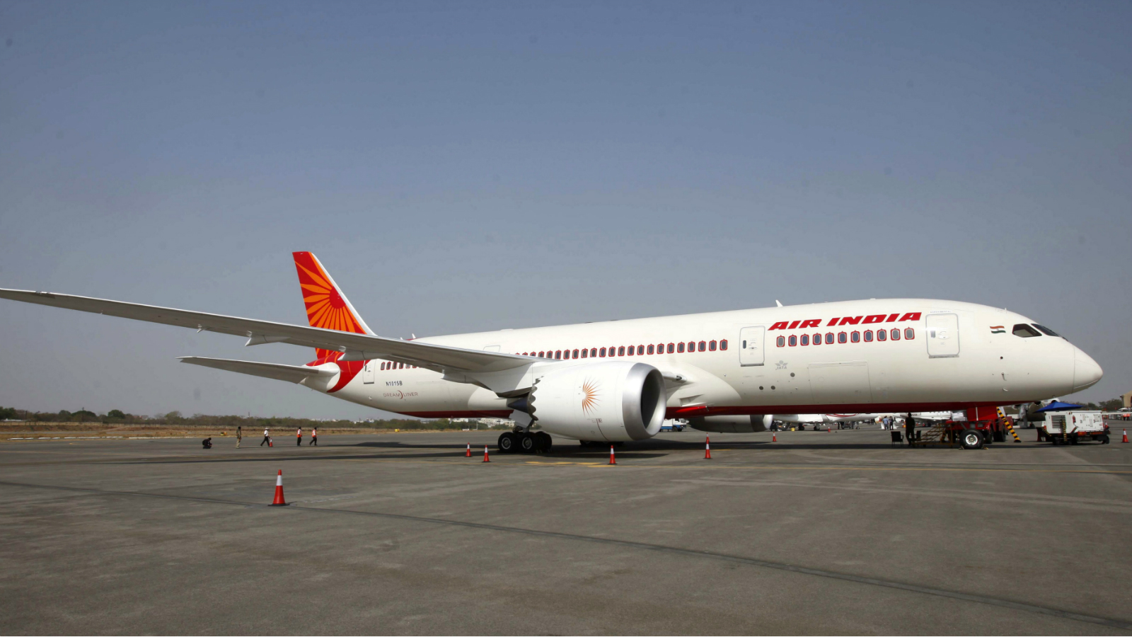 A newly inducted Air India Boeing 787-8 series Dreamliner aircraft stands on static display during the opening day of India Aviation 2012 in Hyderabad, India, Wednesday, March 14, 2012. The third international exhibition and conference on civil Aviation, a five day event, is scheduled to run from March 14-18, where some 250 companies will showcase the latest global aerospace technology at the event.
