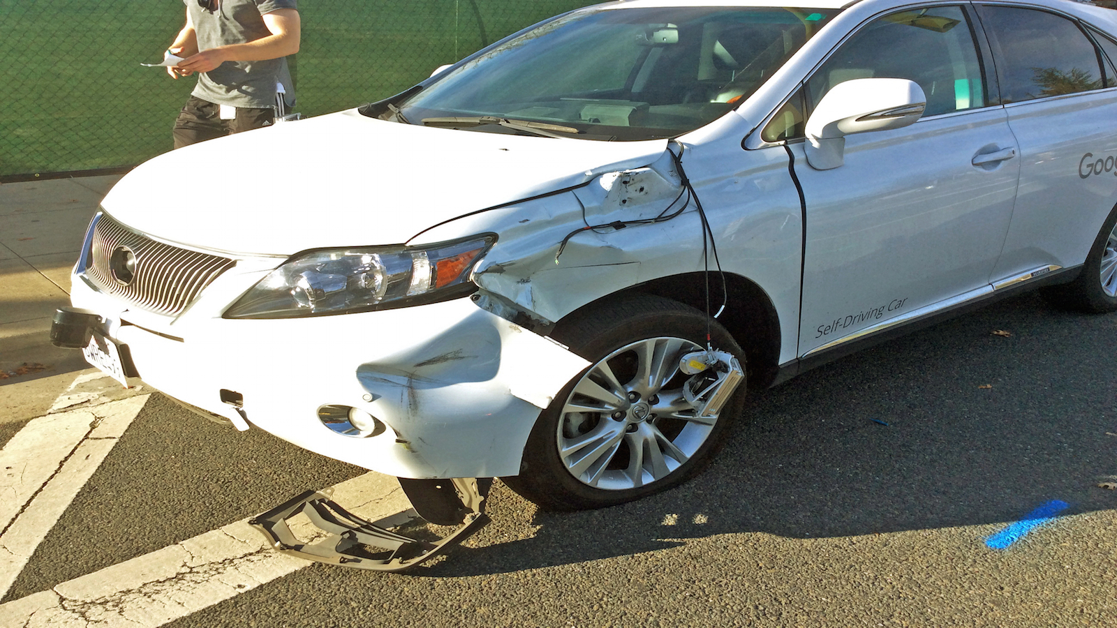 This Feb. 14, 2016, photo provided by the Santa Clara Valley Transportation Authority shows damage to a self-driving Lexus SUV, operated by Google, that collided with a public bus in Mountain View, Calif. Cameras aboard the bus recorded the Lexus edging into the path of the bus and hitting its right side.
