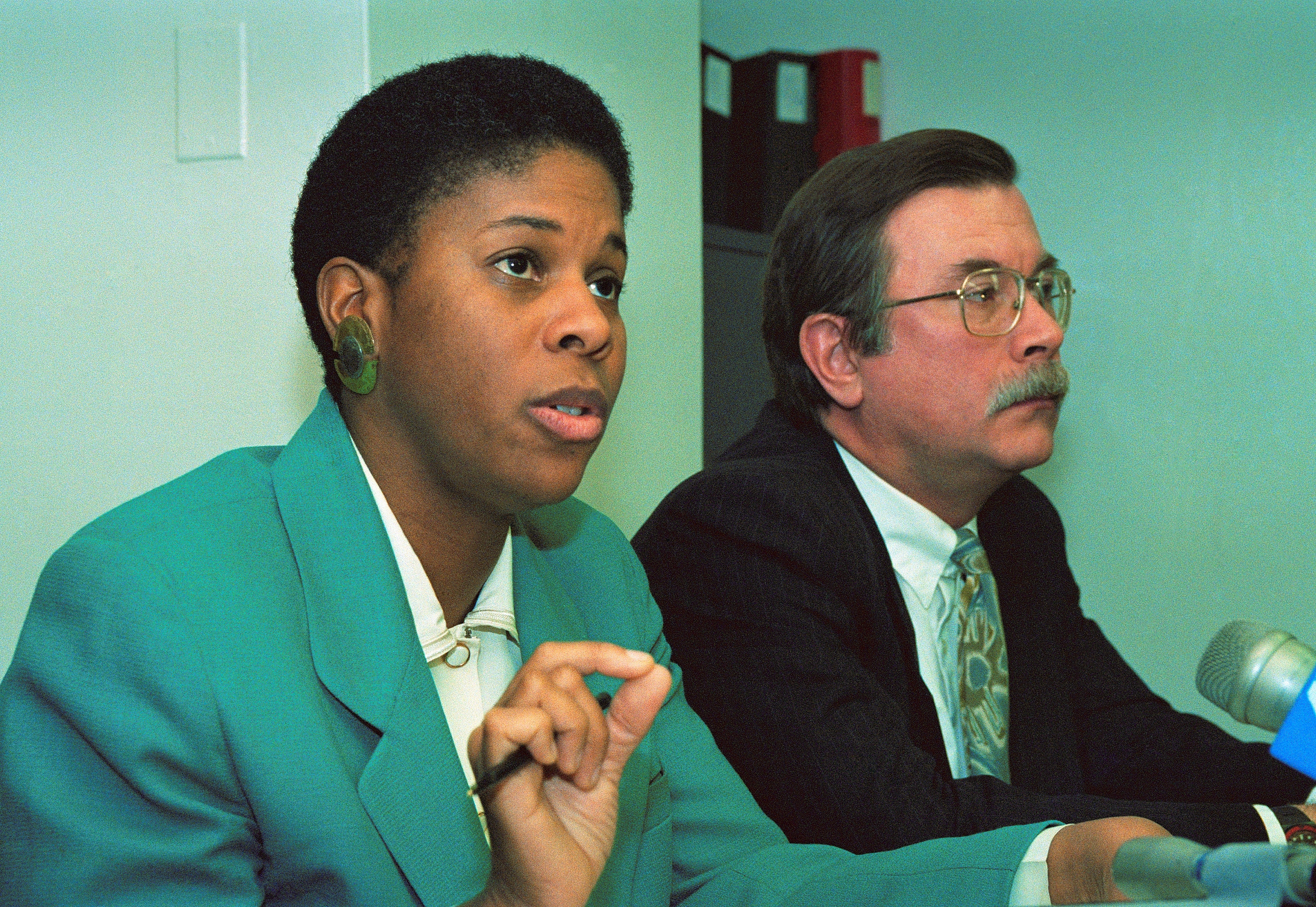New Alliance Party candidate Lenora Fulani, left, and her lawyer in 1993.