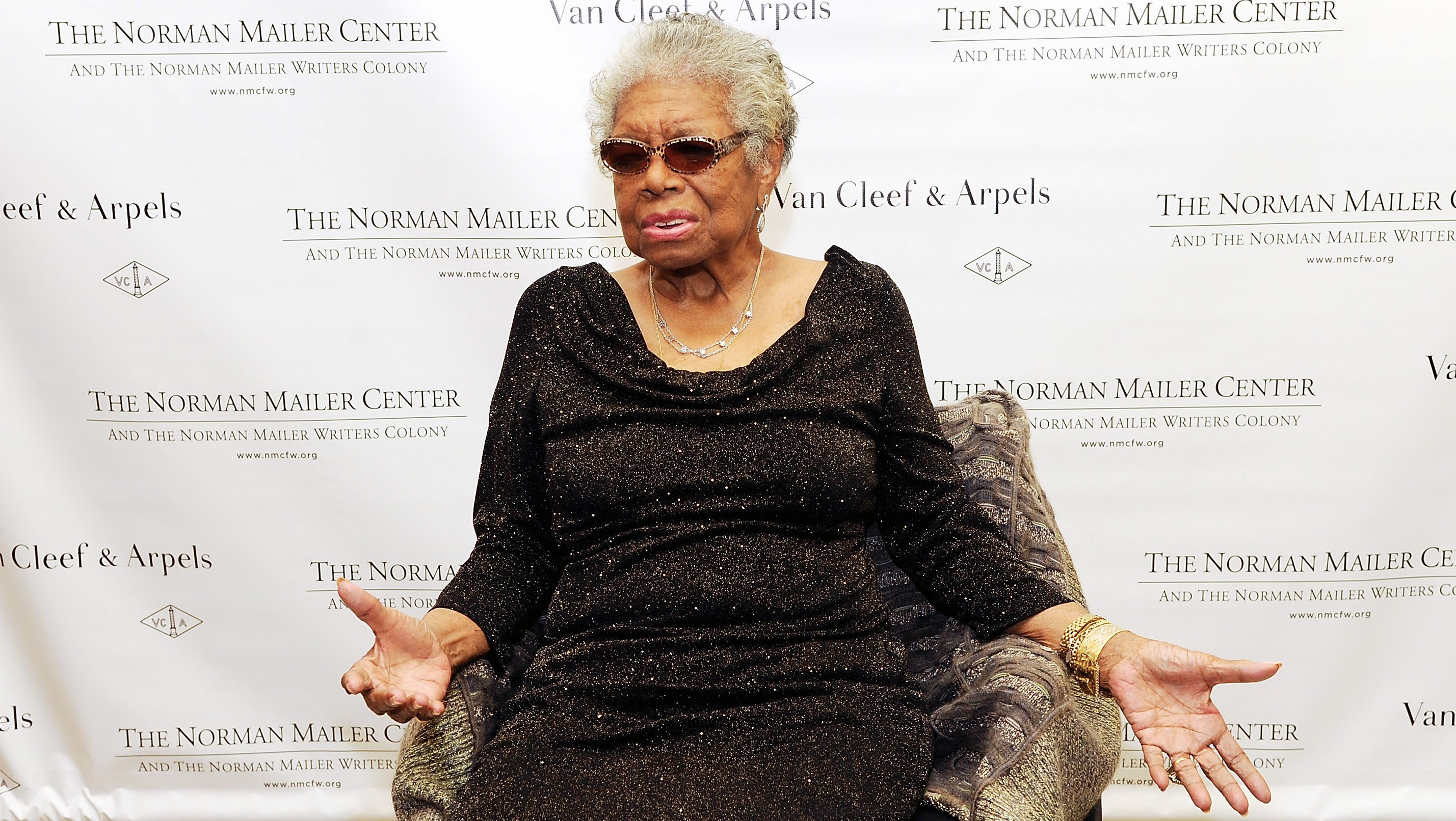 Lifetime Achievement Award recipient Dr. Maya Angelou attends the 5th annual Norman Mailer Center benefit gala at The New York Public Library on Thursday, Oct. 17, 2013 in New York.(Photo by Evan Agostini/Invision/AP)