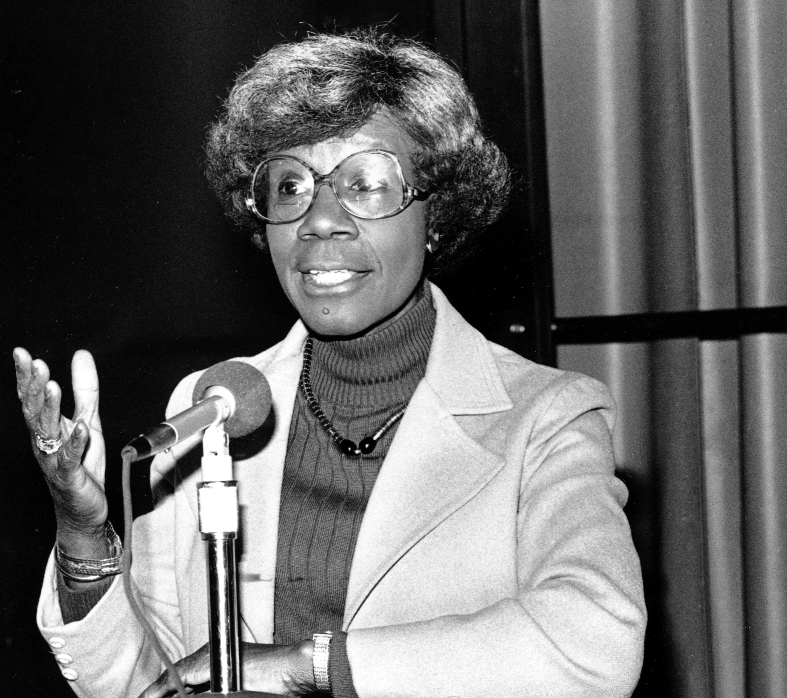 Congresswoman Shirley Chisholm in 1982.