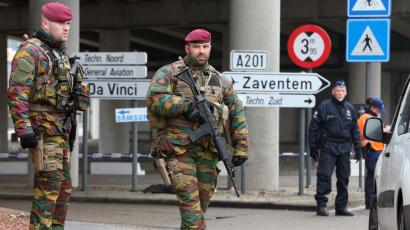 Soldiers guard Brussels airport today.