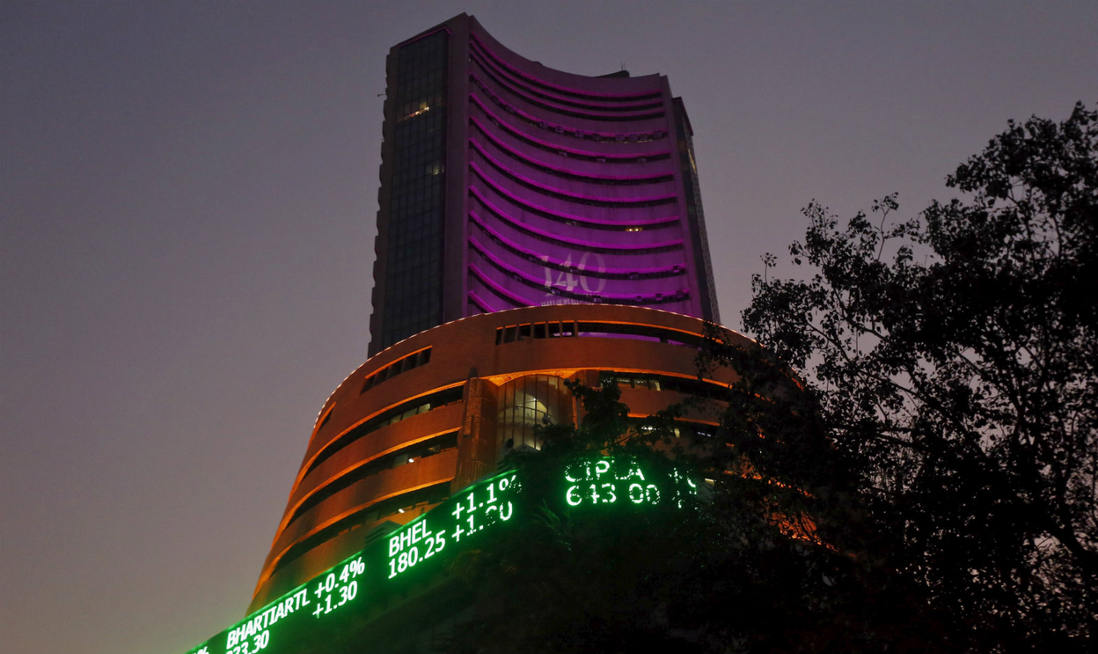 "The Bombay Stock Exchange (BSE) building is illuminated during a special ""muhurat"" trading session for Diwali, the festival of lights, in Mumbai, India, November 11, 2015. Stock markets opened on Wednesday for a special one-hour Diwali holiday session."