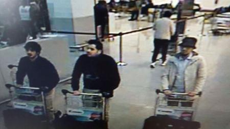Belgian Federal Police released the image of three suspects, two of whom died at Zaventem Airport.