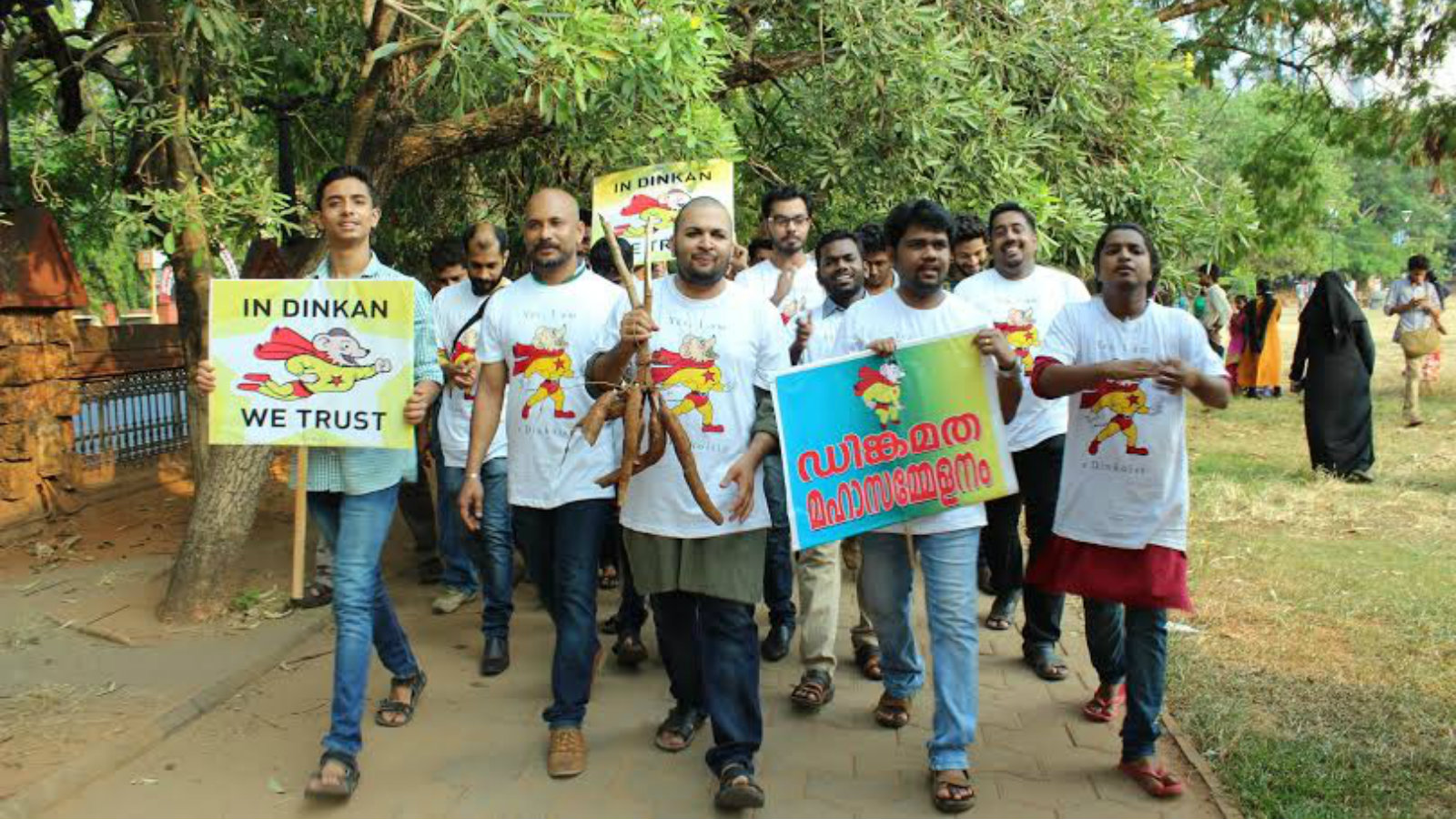 """Dinkoists take out a """"religious"""" march in Kozhikode, Kerala."""
