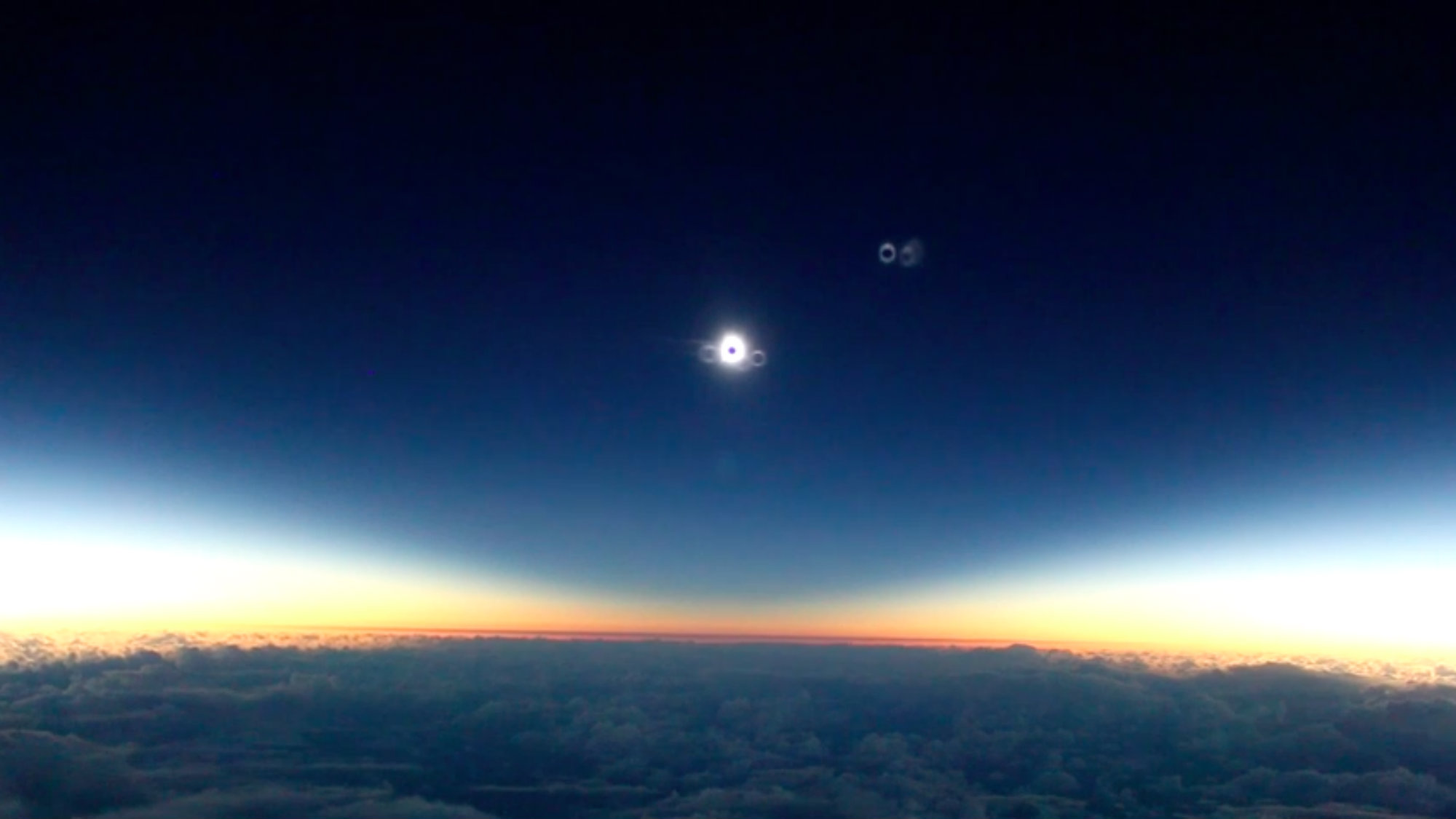 A still from astronomer Mike Kentrianakis's video of a total solar eclipse.