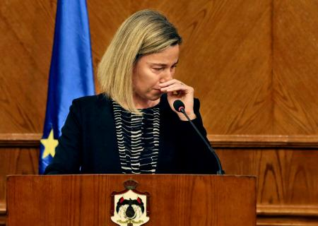 Federica Mogherini, European Union foreign policy chief, reacts to news on the Brussels attacks.