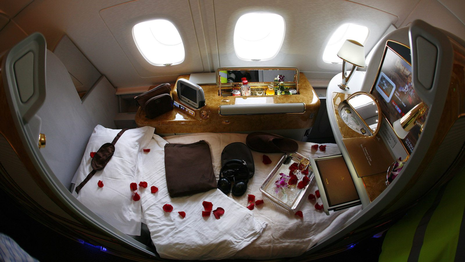 A first class seat is seen on board an Emirates Airbus A380-800 after it landed at Manchester Airport