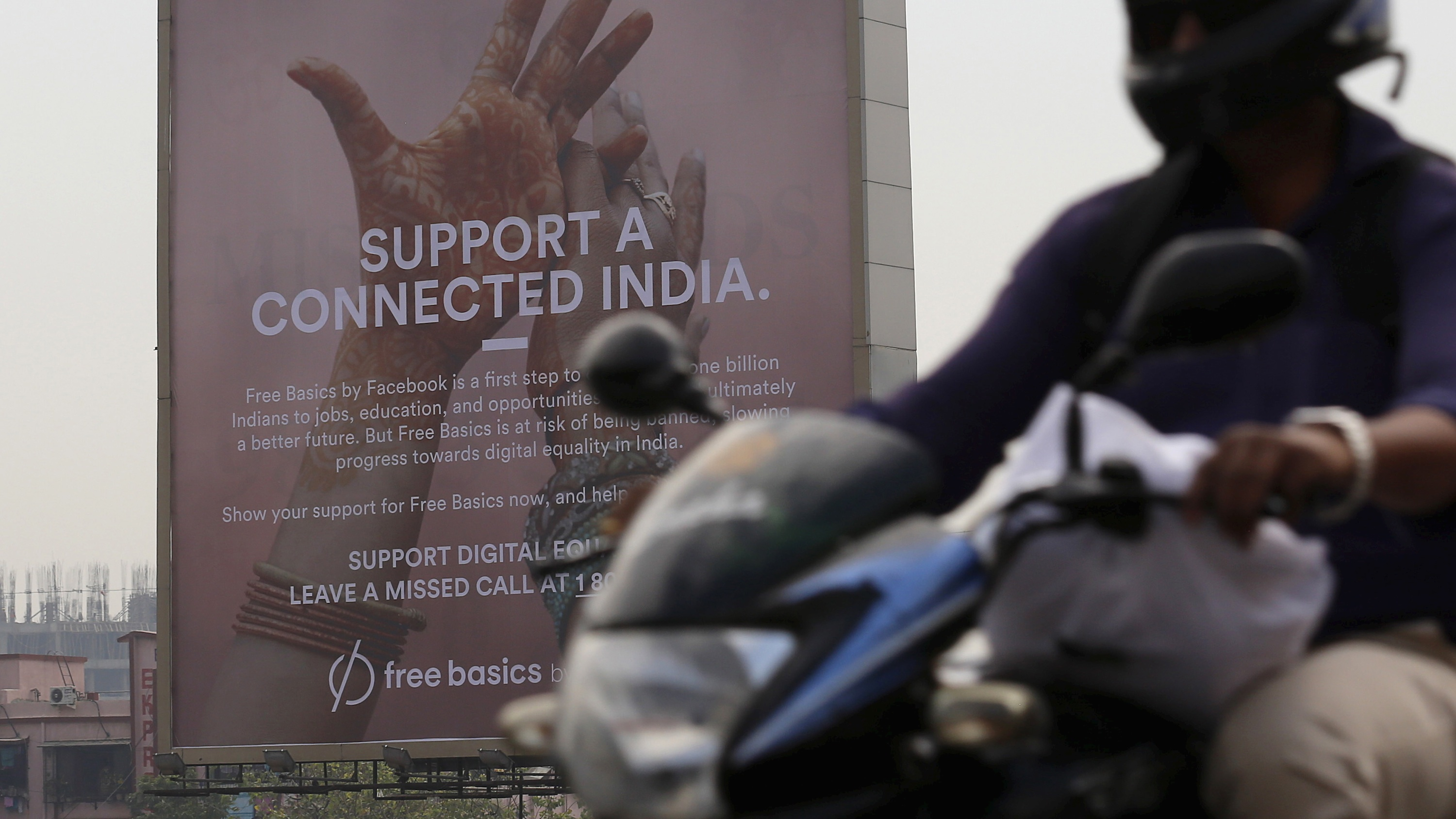 A billboard displays Facebook's ill-fated Free Basics internet program in Mumbai, India.