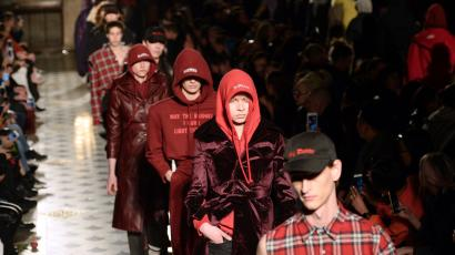 Models present creations for Vetements during the 2016-2017 fall/winter ready-to-wear collection on March 3, 2016 in Paris.