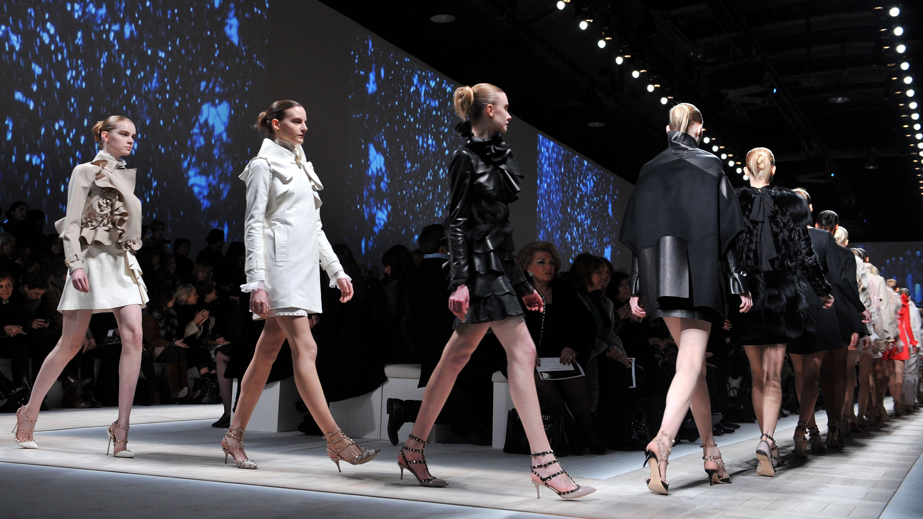 Models walk the runway at the end of the Valentino Ready to Wear show as part of the Paris Womenswear Fashion Week Fall/Winter 2010 Show at Halle Freyssinet on March 9, 2010 in Paris, France.