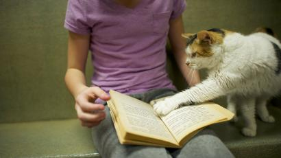 girl reading with cat