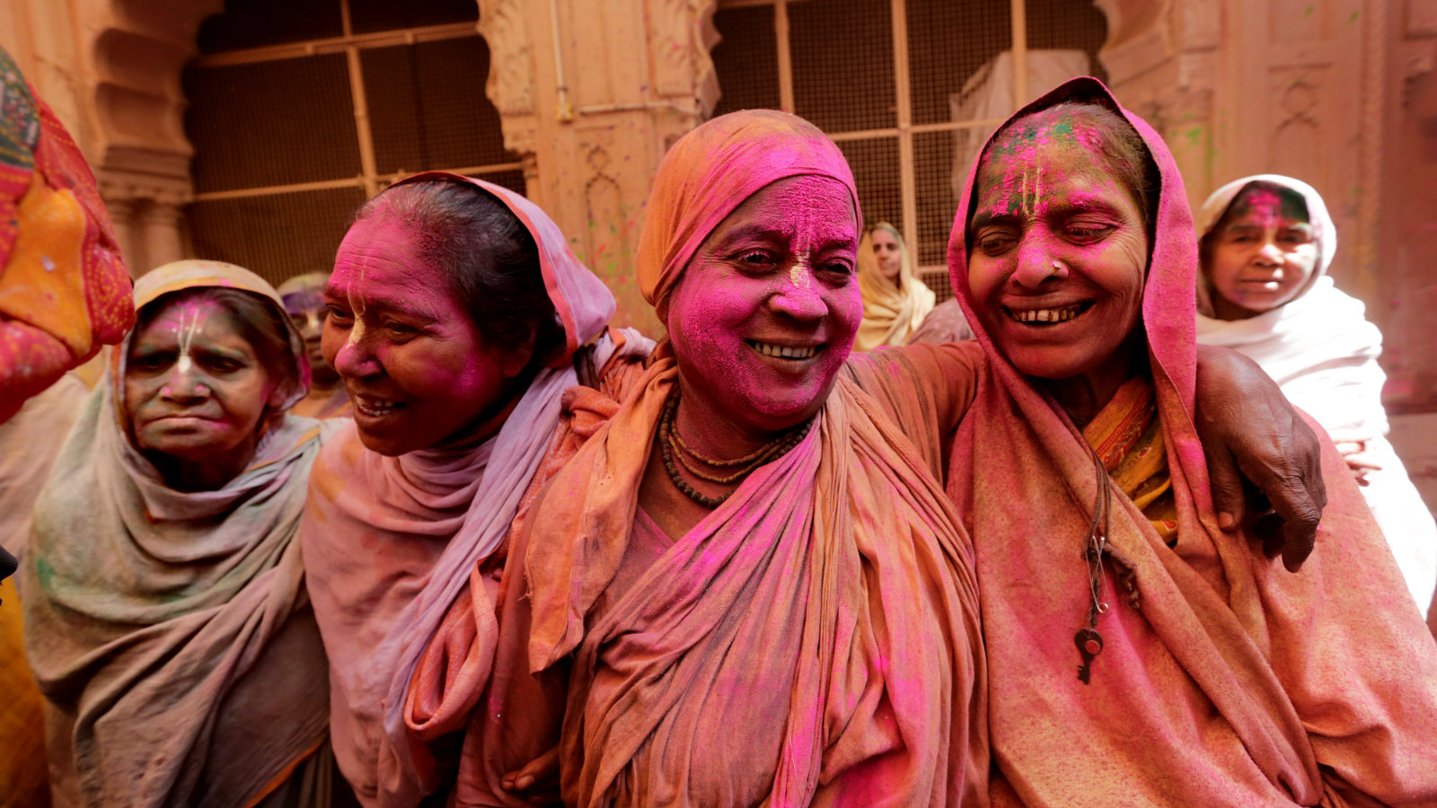 Indian widows participate in a celebration of the Holi festival in Vrindavan, Uttar Pradesh, India, 21 March 2016. Thousands of widows from Vrindavan and Varanasi marked the Hindu spring festival of colors at a temple. The event was organized by Indian NGO Sulabh International that is trying to improve the condition of widows who are living in government shelter homes. This was the first time widows marked the Holi festival inside any temple as still in many parts of India widows are not allowed to celebrate Holi and participate in other festivals.