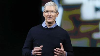 Apple CEO Tim Cook speaks during an event at Apple headquarters in Cupertino, California