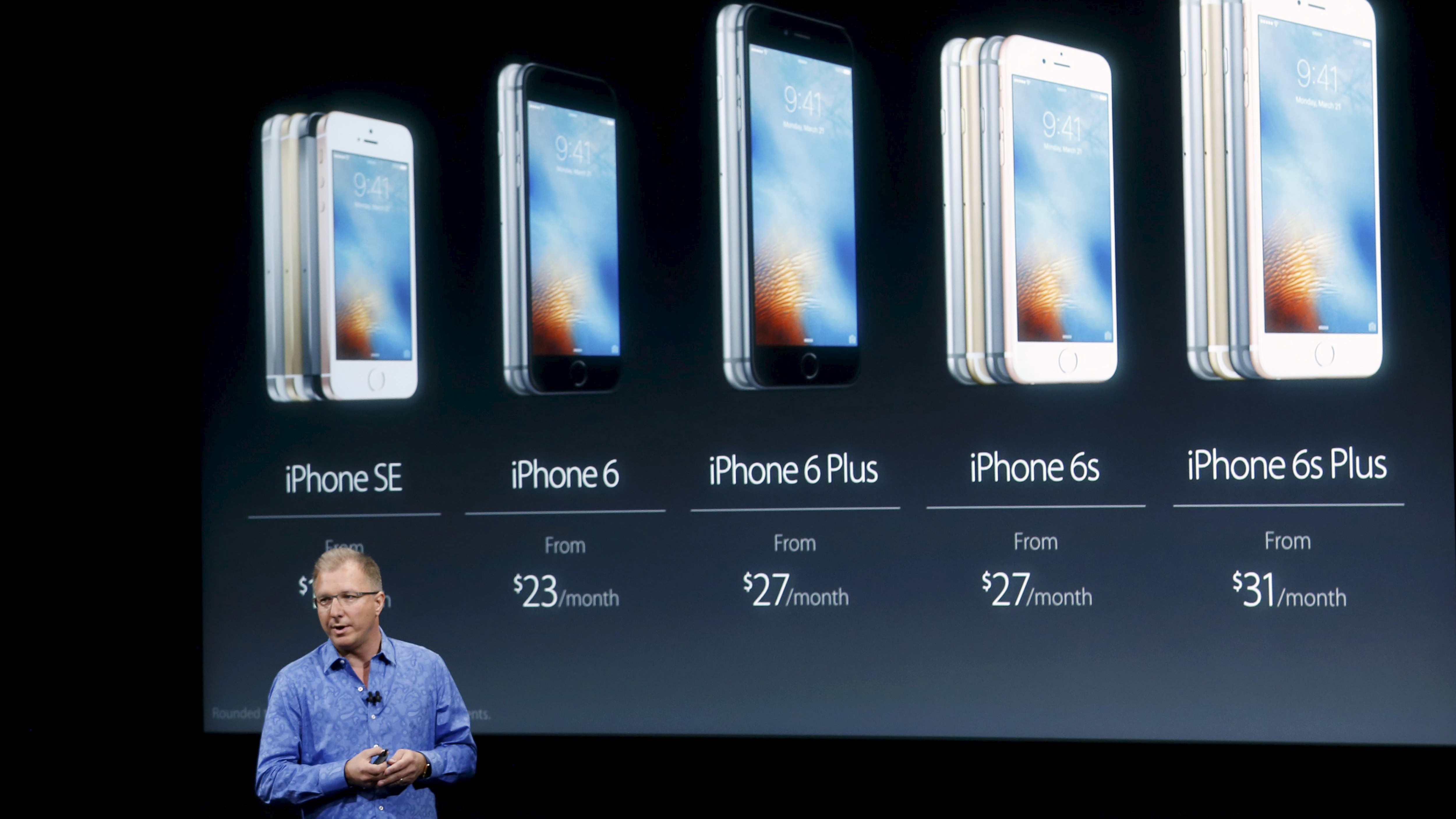 Apple Vice President Greg Joswiak introduces the iPhone SE during an event at the Apple headquarters in Cupertino, California March 21, 2016.