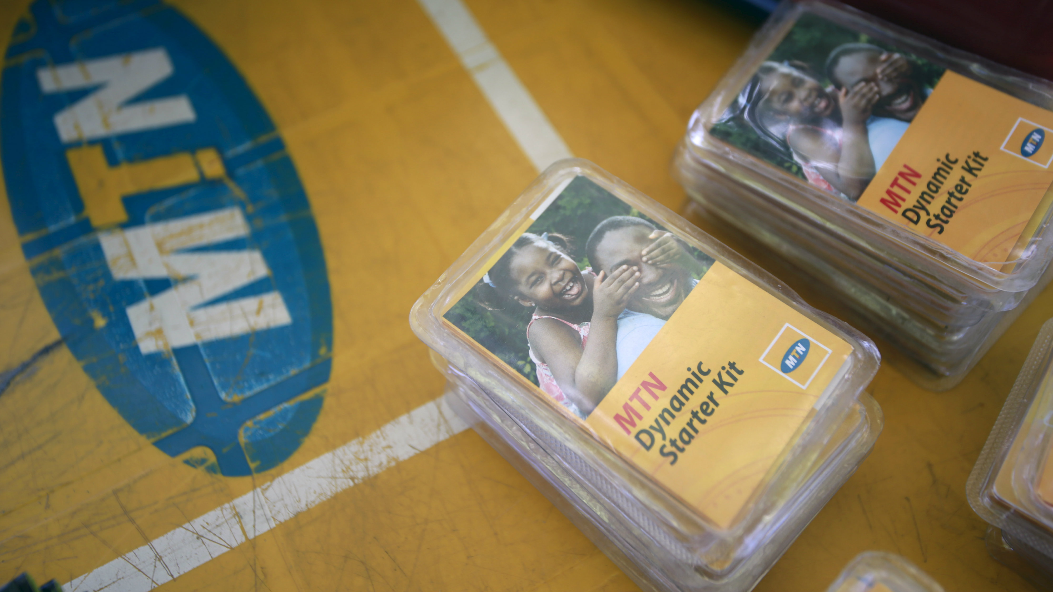 An MTN starter kit pack on display on a table at a retail stand in Abuja, Nigeria.