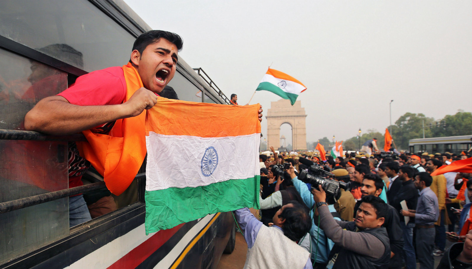 Indian student activists of the student organization Akhil Bharatiya Vidyarthi Parishad (ABVP) are detained by policemen during a protest march at Rajpath against a group of Jawaharlal Nehru University(JNU) students for shouting anti-national slogans in New Delhi, India, 12 February 2016. Indian police filed sedition charges against students of a Jawaharlal Nehru university (JNU) in connection with a protest against the execution of a Kashmiri separatist, Afzal guru, officials said Friday. A ruling party lawmaker had complained to police that students allegedly shouted slogans against the government and the country at the function to mark the hanging of Afzal Guru. Guru was hanged on February 9, 2012 for an attack on the Indian Parliament in which 14 people were killed. Civil rights activists say Guru was not given a fair trial.