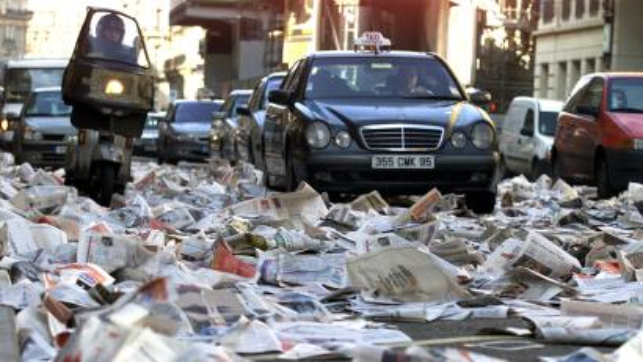 newspapers on ground