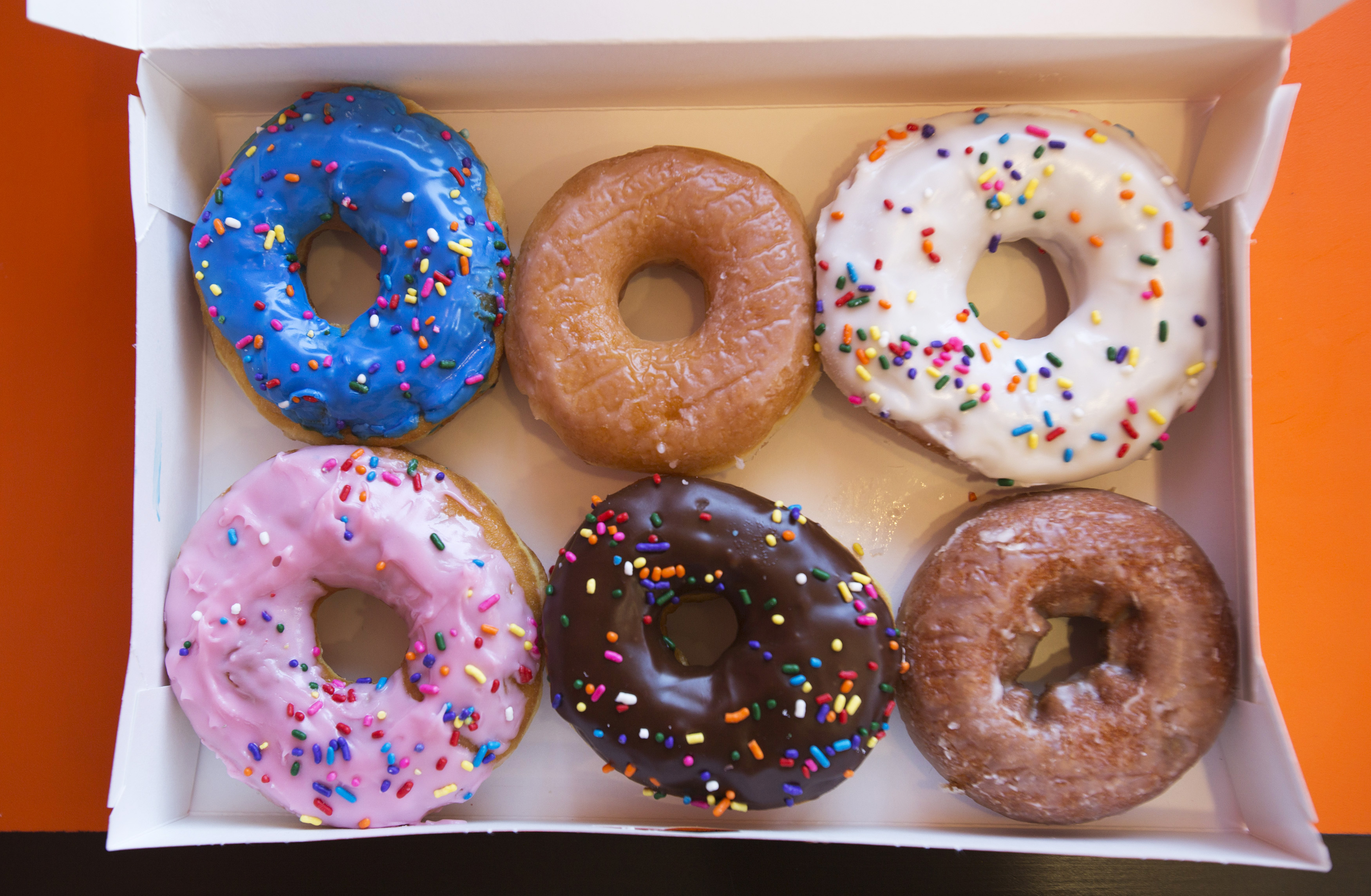A box of donuts is pictured at a newly opened Dunkin' Donuts store in Santa Monica