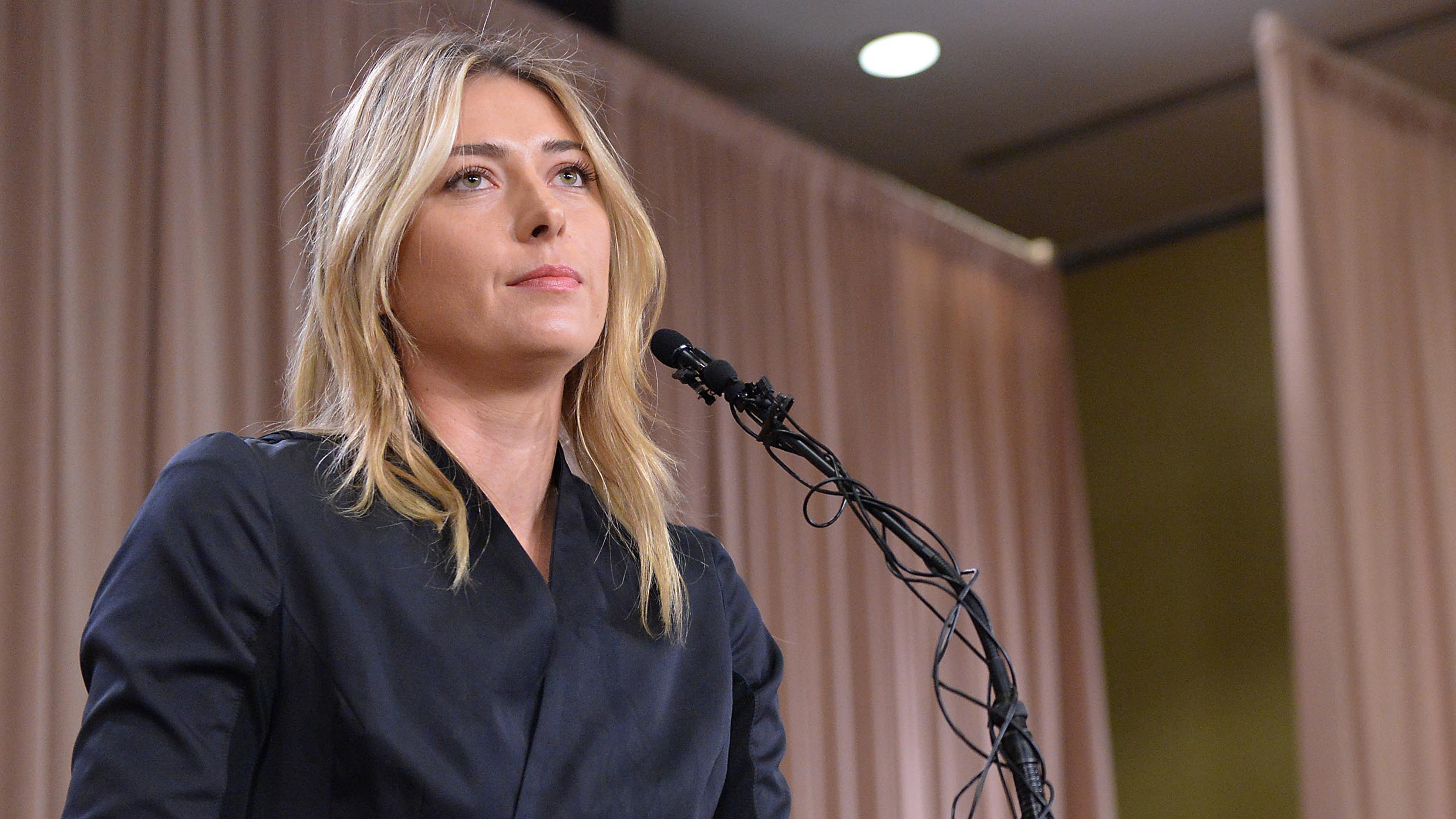 Maria Sharapova speaks to the media announcing a failed drug test after the Australian Open during a press conference today at The LA Hotel Downtown.